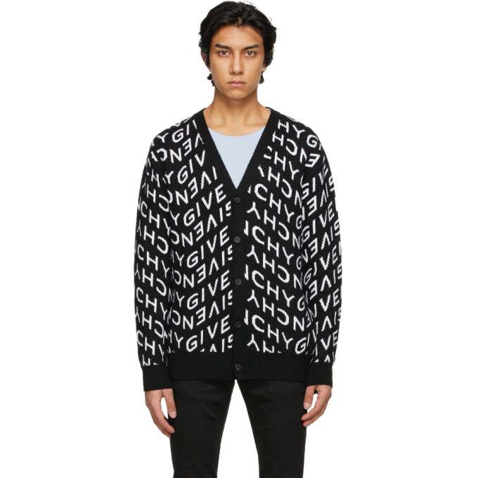 Givenchy Knits GIVENCHY BLACK AND WHITE REFRACTED LOGO CARDIGAN
