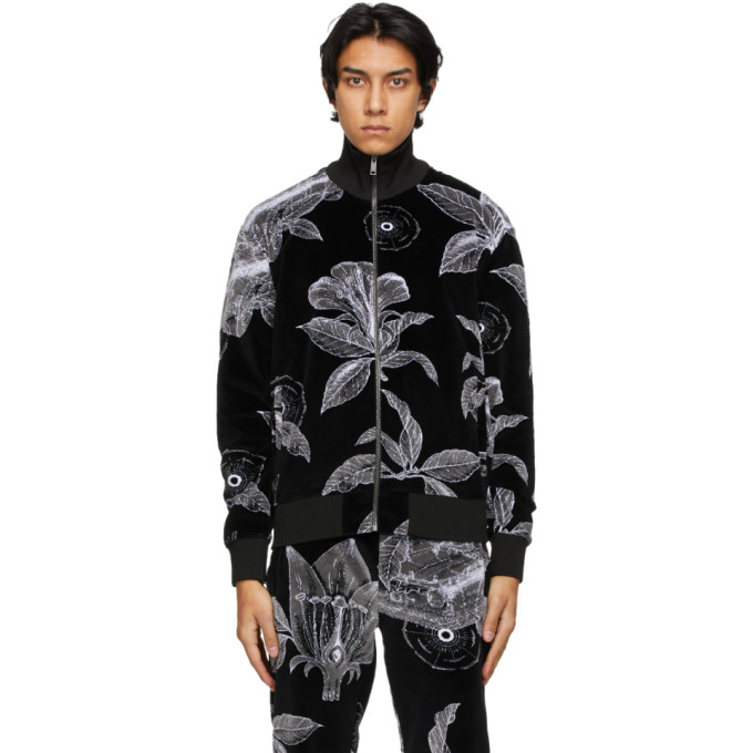 Givenchy Black and White Velvet Floral Schematics Track Jacket