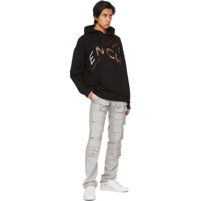 GIVENCHY Hoodies GIVENCHY BLACK BEADED REFRACTED LOGO HOODIE