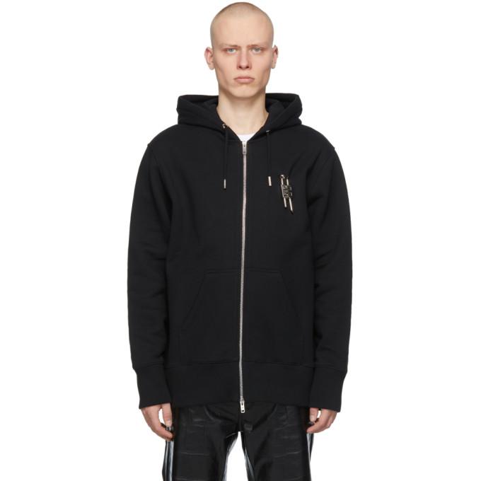 Givenchy Hoodies GIVENCHY BLACK PADLOCK ZIP-UP HOODIE