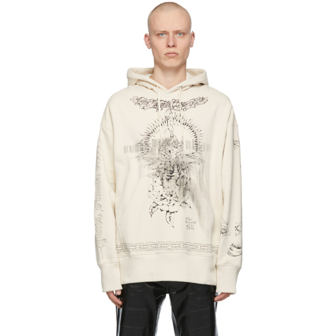 Givenchy Cottons GIVENCHY BEIGE OVERSIZED GRAPHIC HOODIE