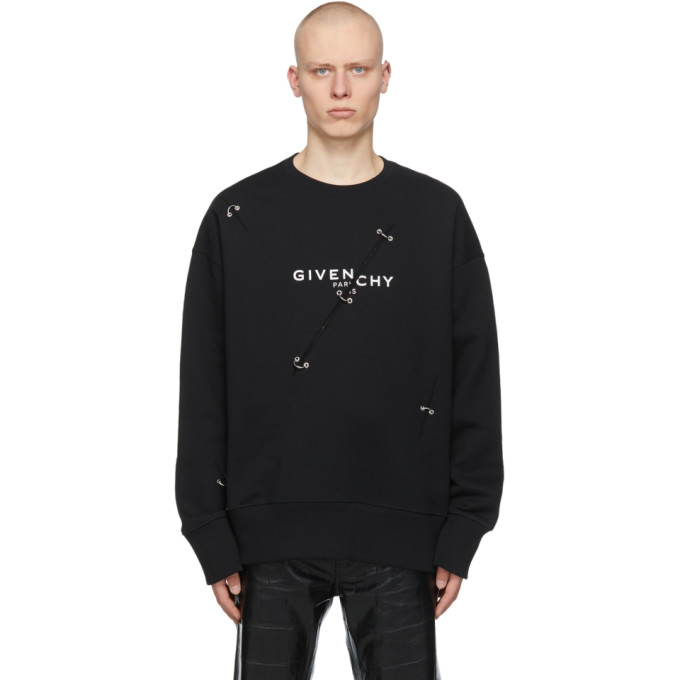 Givenchy Cottons GIVENCHY BLACK OVERSIZED METAL DETAILING SWEATSHIRT