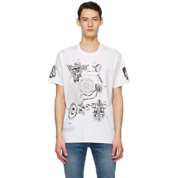 GIVENCHY GIVENCHY WHITE SCHEMATICS T-SHIRT