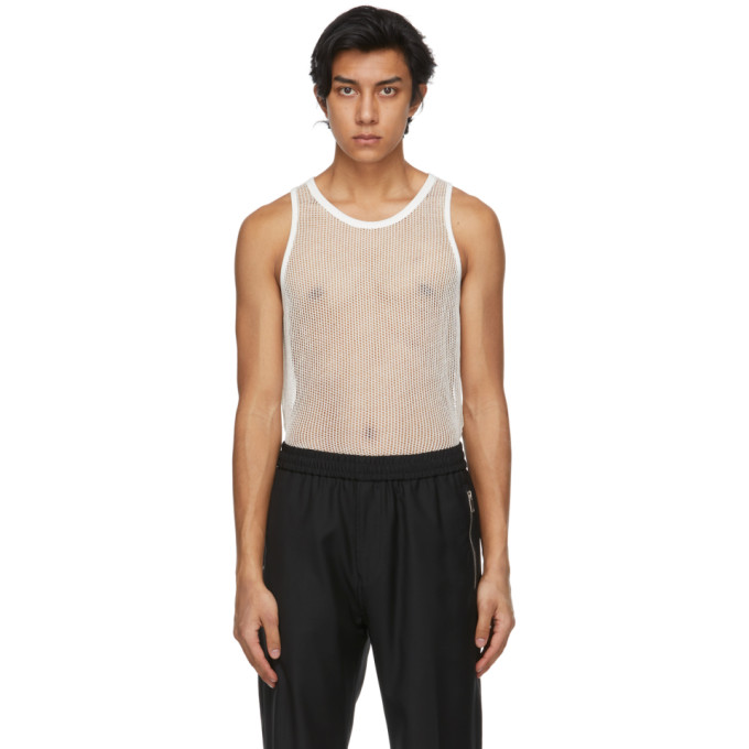 Givenchy GIVENCHY OFF-WHITE METALLIZED MESH SLIM FIT TANK TOP