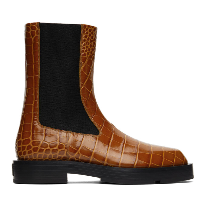Givenchy GIVENCHY ORANGE CROC CHELSEA BOOTS