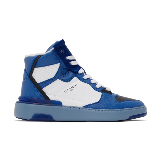 Givenchy GIVENCHY BLUE THREE-TONED WING HIGH-TOP SNEAKERS