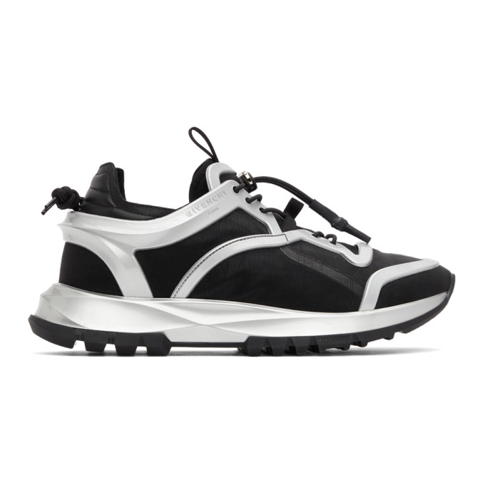 Givenchy GIVENCHY BLACK AND SILVER SPECTRE CAGE RUNNER SNEAKERS