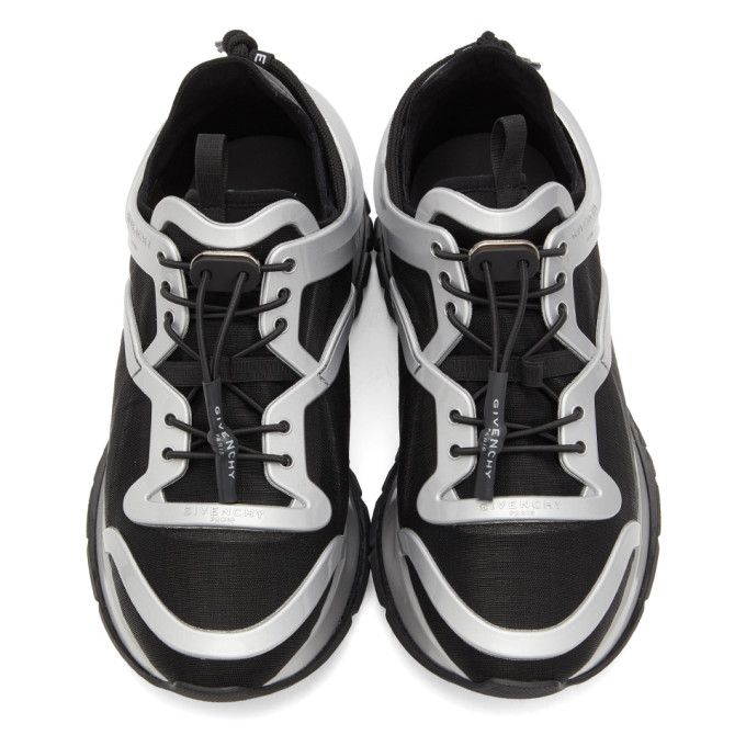 GIVENCHY Activewears GIVENCHY BLACK AND SILVER SPECTRE CAGE RUNNER SNEAKERS