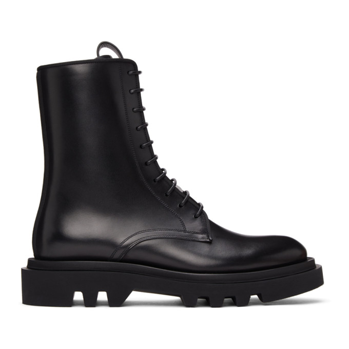 Givenchy GIVENCHY BLACK LEATHER COMBAT LACE-UP BOOTS