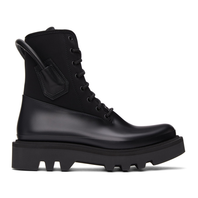 Givenchy GIVENCHY BLACK NEOPRENE AND RUBBER COMBAT BOOTS