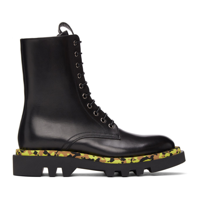 Givenchy GIVENCHY BLACK LEATHER CAMO COMBAT LACE-UP BOOTS