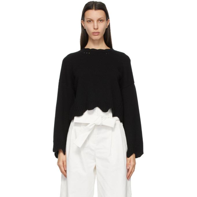 3.1 Phillip Lim 3.1 PHILLIP LIM BLACK WOOL AND CASHMERE SCALLOPED SWEATER