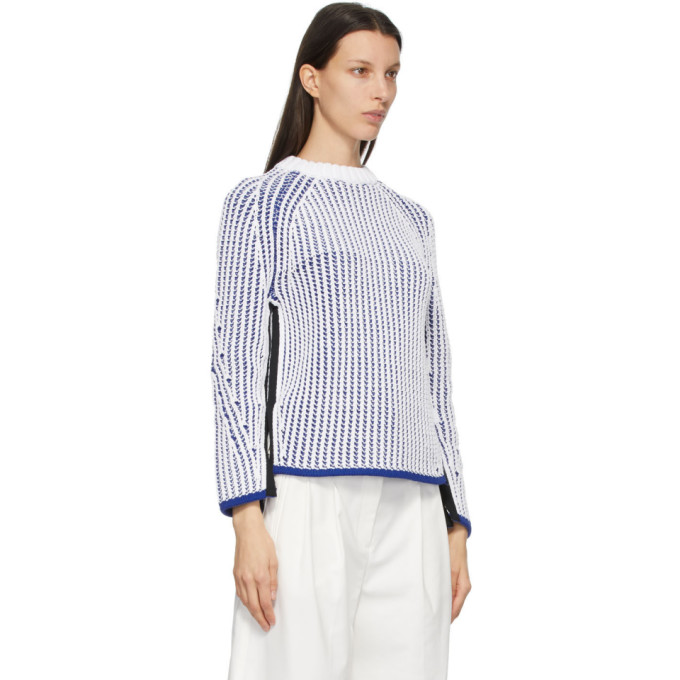 3.1 PHILLIP LIM Cottons 3.1 PHILLIP LIM WHITE AND BLUE TWO-TONE SWEATER