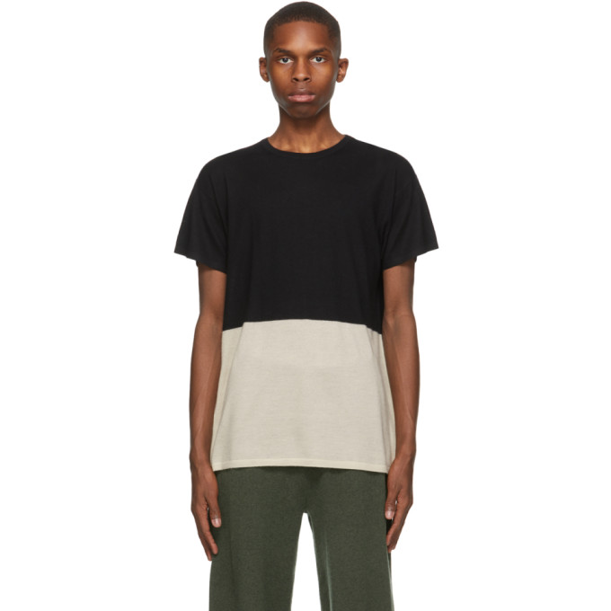 Frenckenberger SSENSE 独家发售黑色 and 米色 Bicolor 羊绒 T 恤
