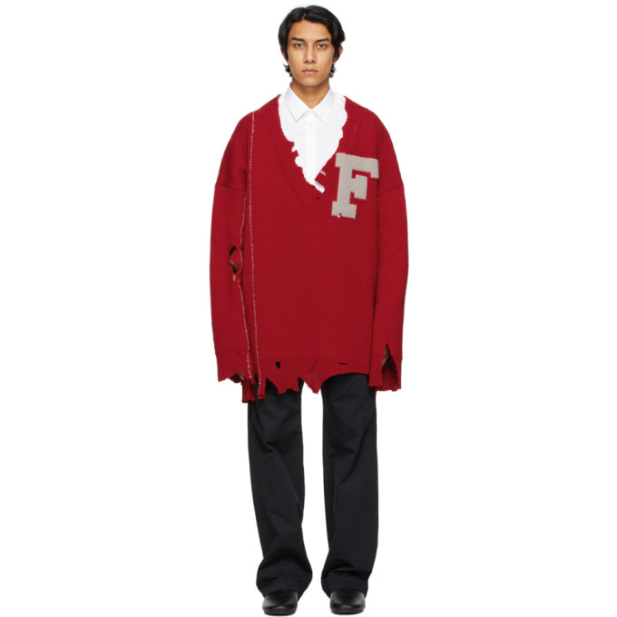 Raf Simons RAF SIMONS RED OVERSIZED DESTROYED F SWEATER