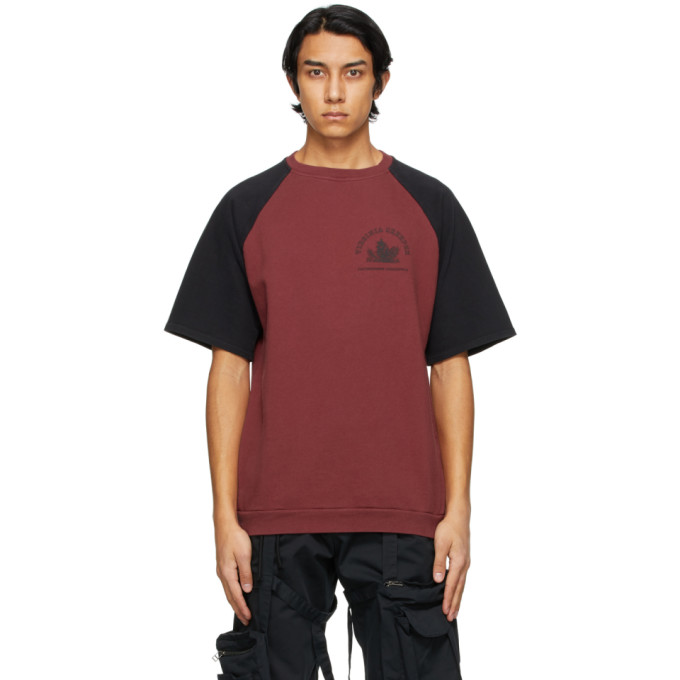 Raf Simons RAF SIMONS BURGUNDY AND BLACK VIRGINIA CREEPER EDITION RAGLAN T-SHIRT