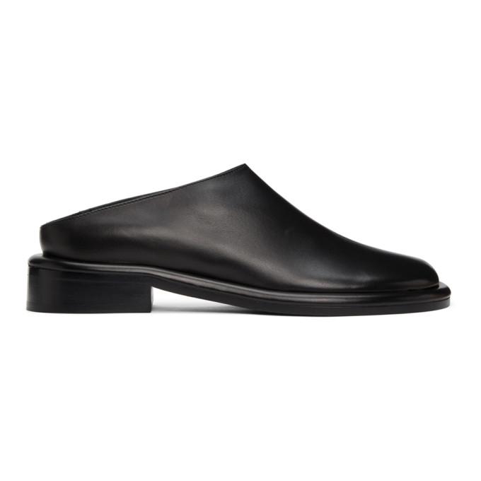 Proenza Schouler Loafers PROENZA SCHOULER BLACK LEATHER PIPE FLAT MULES
