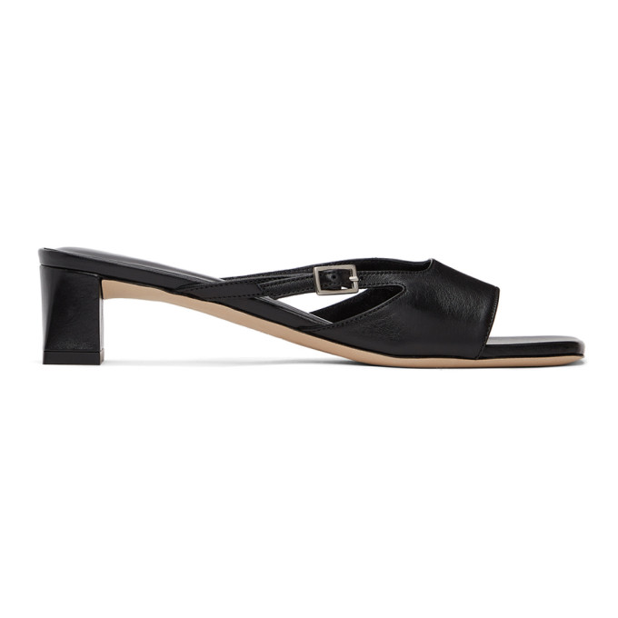 By Far Leathers BY FAR BLACK PAT HEELED SANDALS