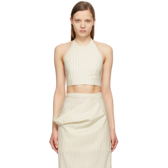 Sportmax SPORTMAX OFF-WHITE STRIPED CROPPED JUDY HALTER TOP