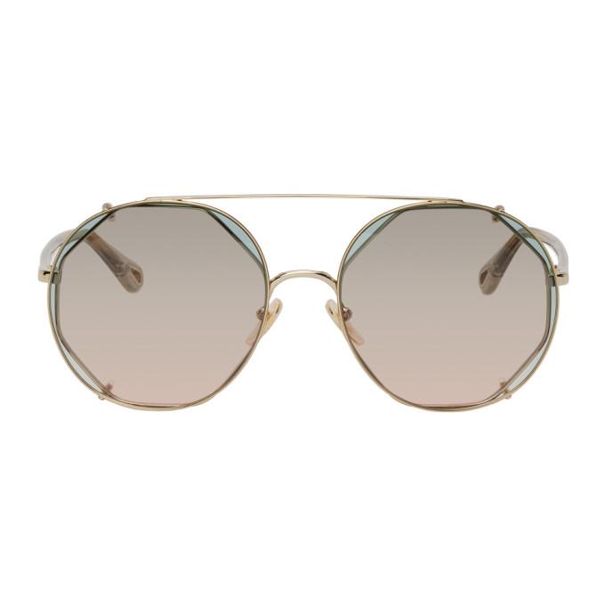 Chloé Sunglasses CHLOE GOLD AND GREEN DEMI CLIP-ON PILOT SUNGLASSES