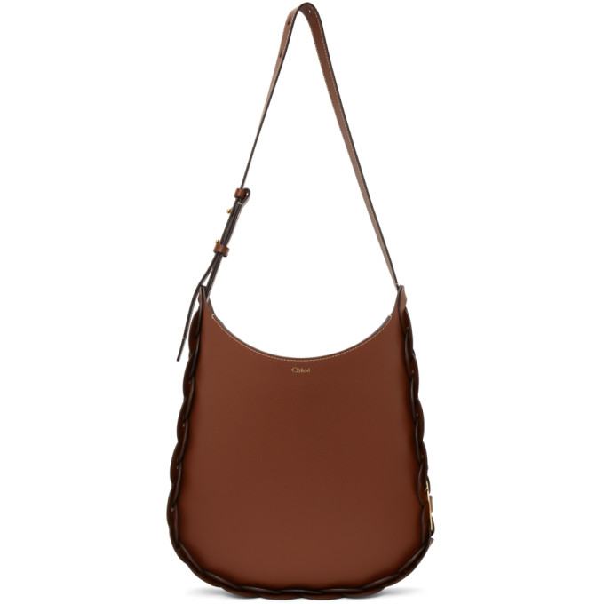 Chloé Darryl Medium Leather Shoulder Bag In 27s Sepia Brown