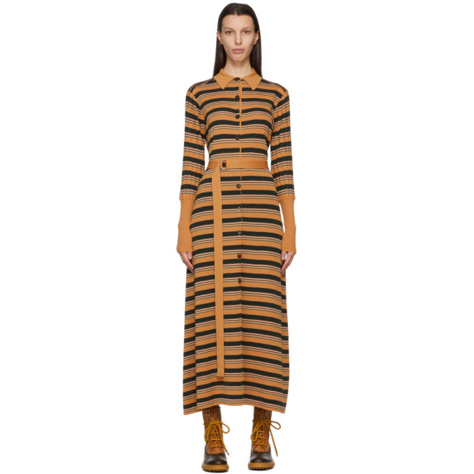 Chloé CHLOE TAN WOOL STRIPED DRESS