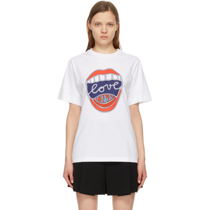 Chloé Cottons CHLOE WHITE LOVE MOUTH GRAPHIC T-SHIRT