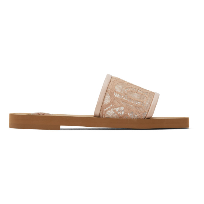 Chloé Woody Lace Flat Mules In Pink Tea Color In 26c Pnktea
