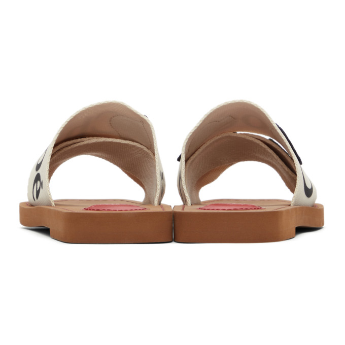 CHLOÉ Canvases CHLOE WHITE PATCHES WOODY FLAT MULES