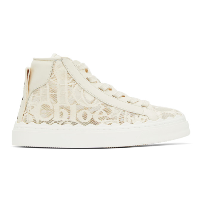 Chloé CHLOE OFF-WHITE LACE LAUREN HIGH-TOP SNEAKERS