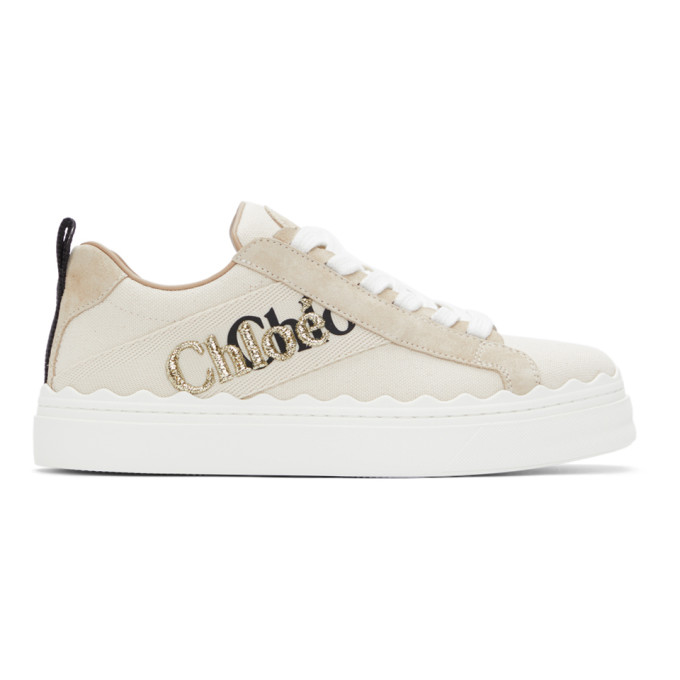 Chloé Sneakers CHLOE BEIGE CANVAS EMBROIDERED LAUREN SNEAKERS