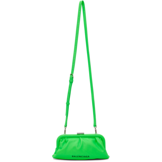 Balenciaga Cloud Xs Leather Clutch In Fluo Green