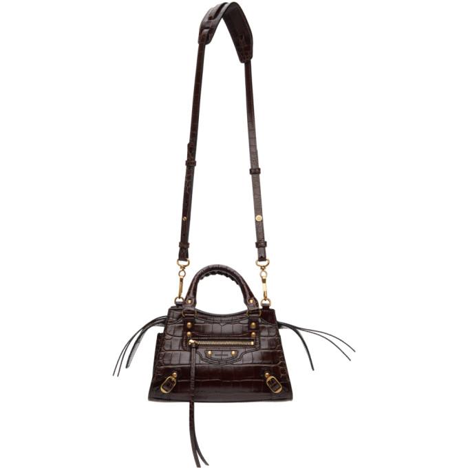Balenciaga Bags BALENCIAGA BROWN CROC MINI NEO CLASSIC TOP HANDLE BAG