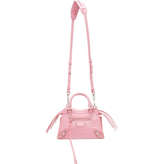 Balenciaga Handbags BALENCIAGA PINK CROC MINI NEO CLASSIC TOP HANDLE BAG