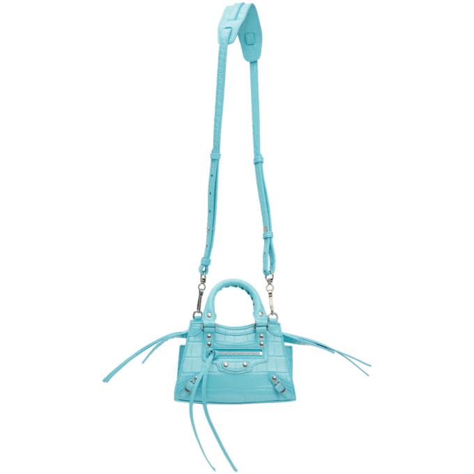 Balenciaga BALENCIAGA BLUE CROC NANO NEO CLASSIC CITY BAG