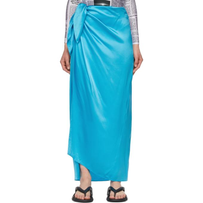 Balenciaga Silks BALENCIAGA BLUE SILK EASYWRAP SKIRT
