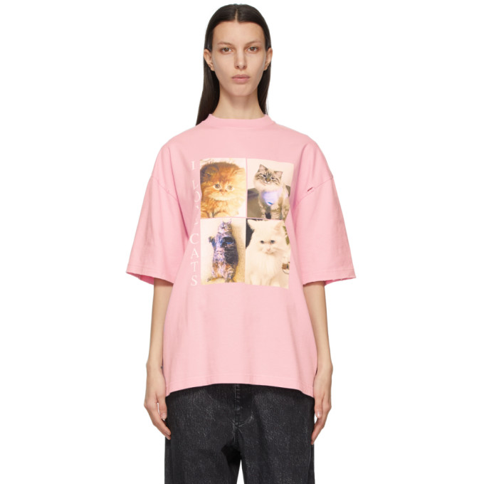 Balenciaga Cottons BALENCIAGA PINK I LOVE PETS XL FIT I LOVE CATS T-SHIRT