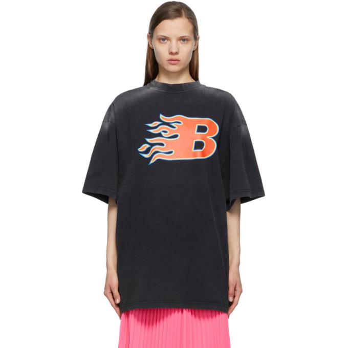 Balenciaga T-shirts BALENCIAGA BLACK FLAME T-SHIRT