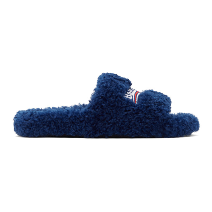 Balenciaga Women's Furry Political Campaign Faux Shearling Slippers In 4096 Blu/white/red