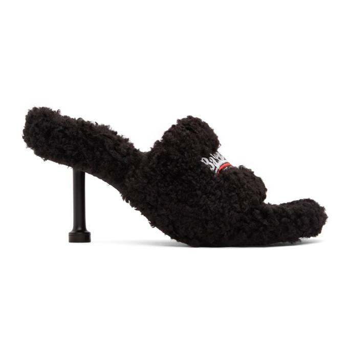 Balenciaga Black Furry 80mm Heeled Sandals In 1096 Black