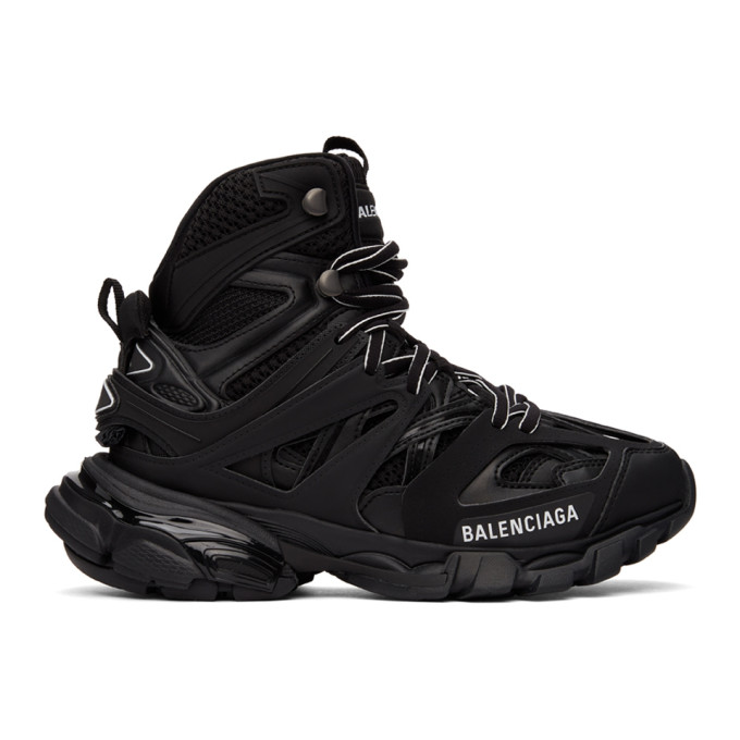 Balenciaga Track Hike Logo-detailed Mesh And Rubber High-top Sneakers In Black