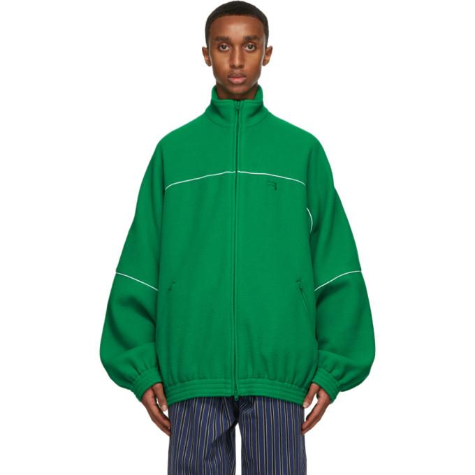 Balenciaga Linings BALENCIAGA GREEN FLEECE TRACKSUIT JACKET
