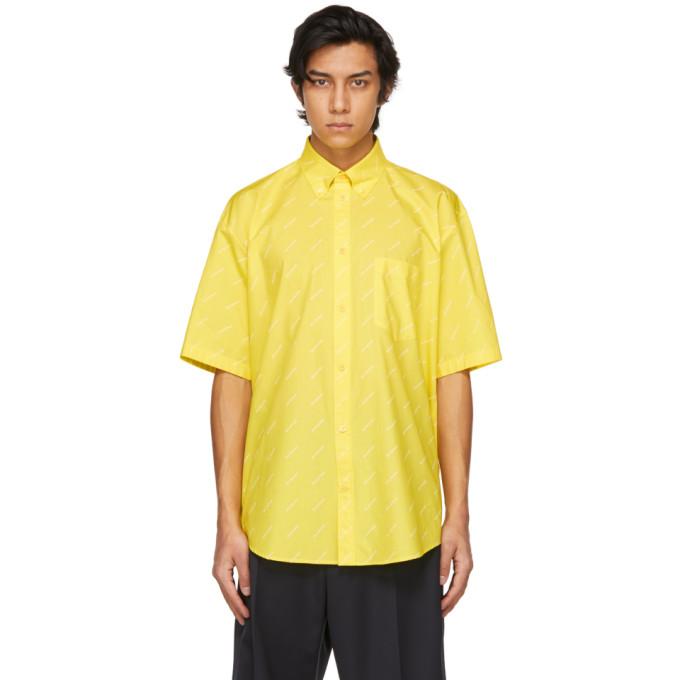 Balenciaga T-shirts BALENCIAGA YELLOW LOGO NORMAL FIT SHORT SLEEVE SHIRT