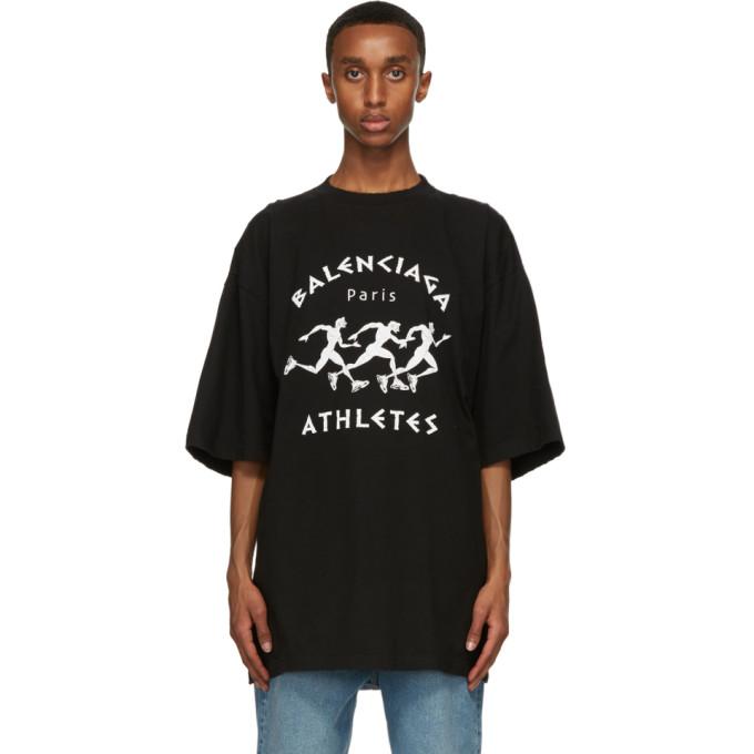 Balenciaga Cottons BALENCIAGA BLACK MARATHON XL T-SHIRT