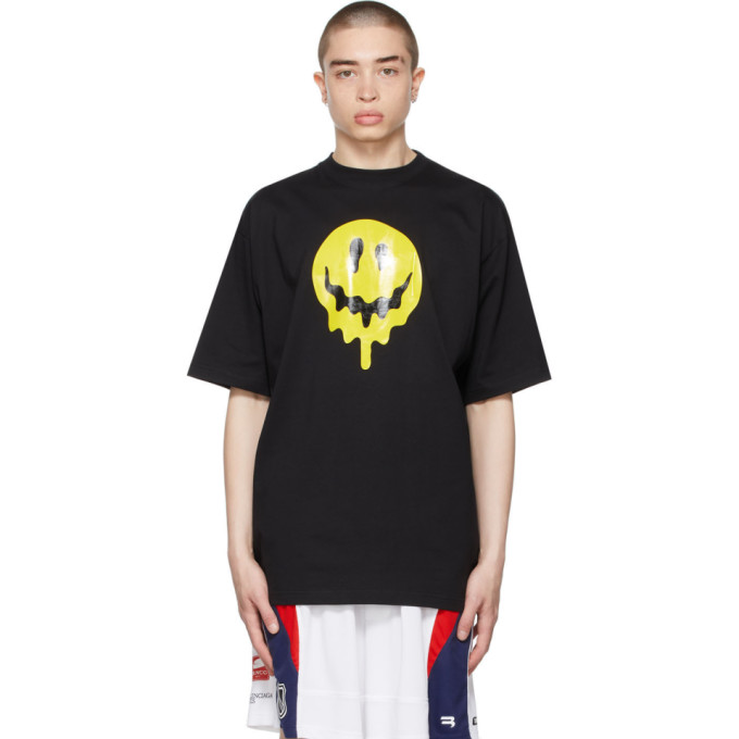 Balenciaga T-shirts BALENCIAGA BLACK DRIP PEACE LARGE FIT T-SHIRT