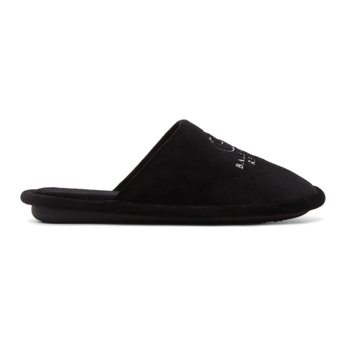 Balenciaga Velvets BALENCIAGA BLACK TOWEL VELVET LOGO SLIPPERS