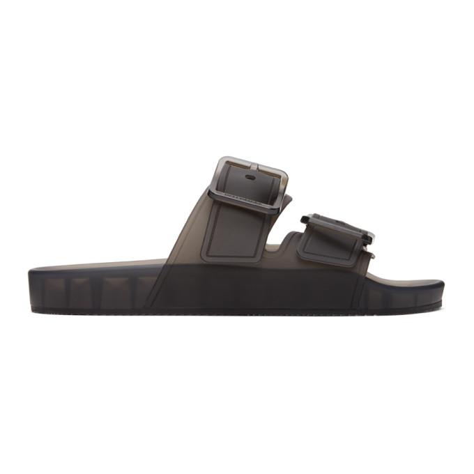 Balenciaga Grey Mallorca Jelly Sandals In 1000 Black
