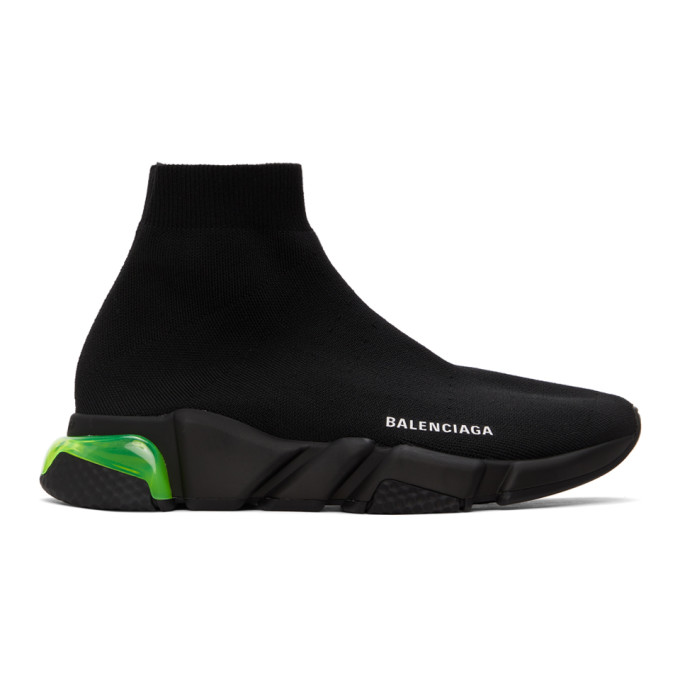 Balenciaga BALENCIAGA BLACK AND GREEN CLEAR SOLE SPEED SNEAKERS