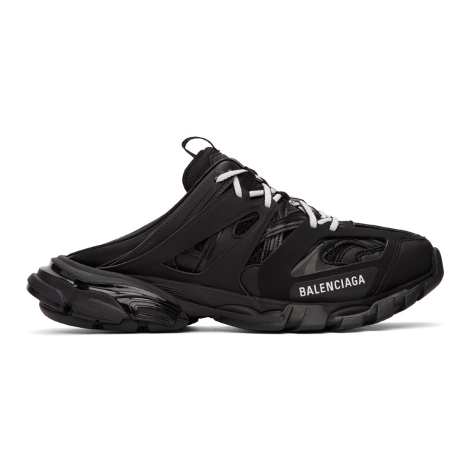 Balenciaga Track Panelled Faux-leather Backless Trainers In 1000 Black