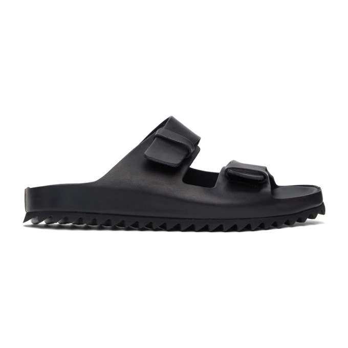 Officine Creative Black Leather Sandals In 100 Nero